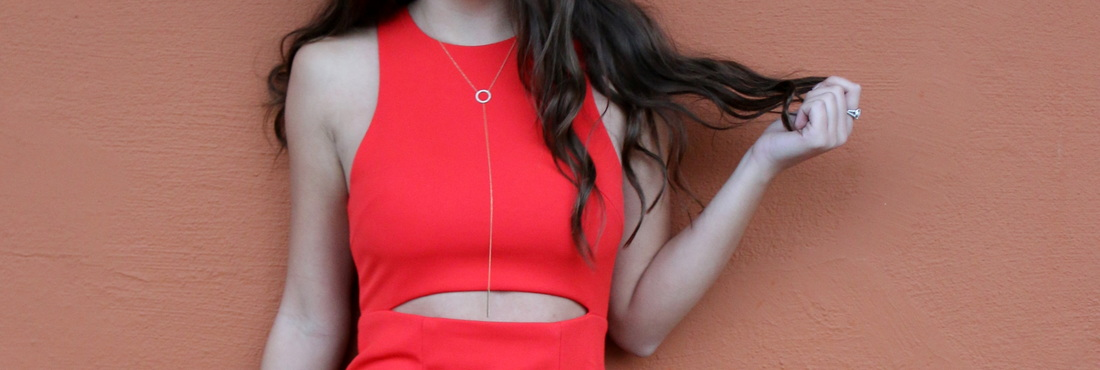 Elizabeth in her BCBG Red Dress and an original Brooks Collection Diamond Lariat Necklace